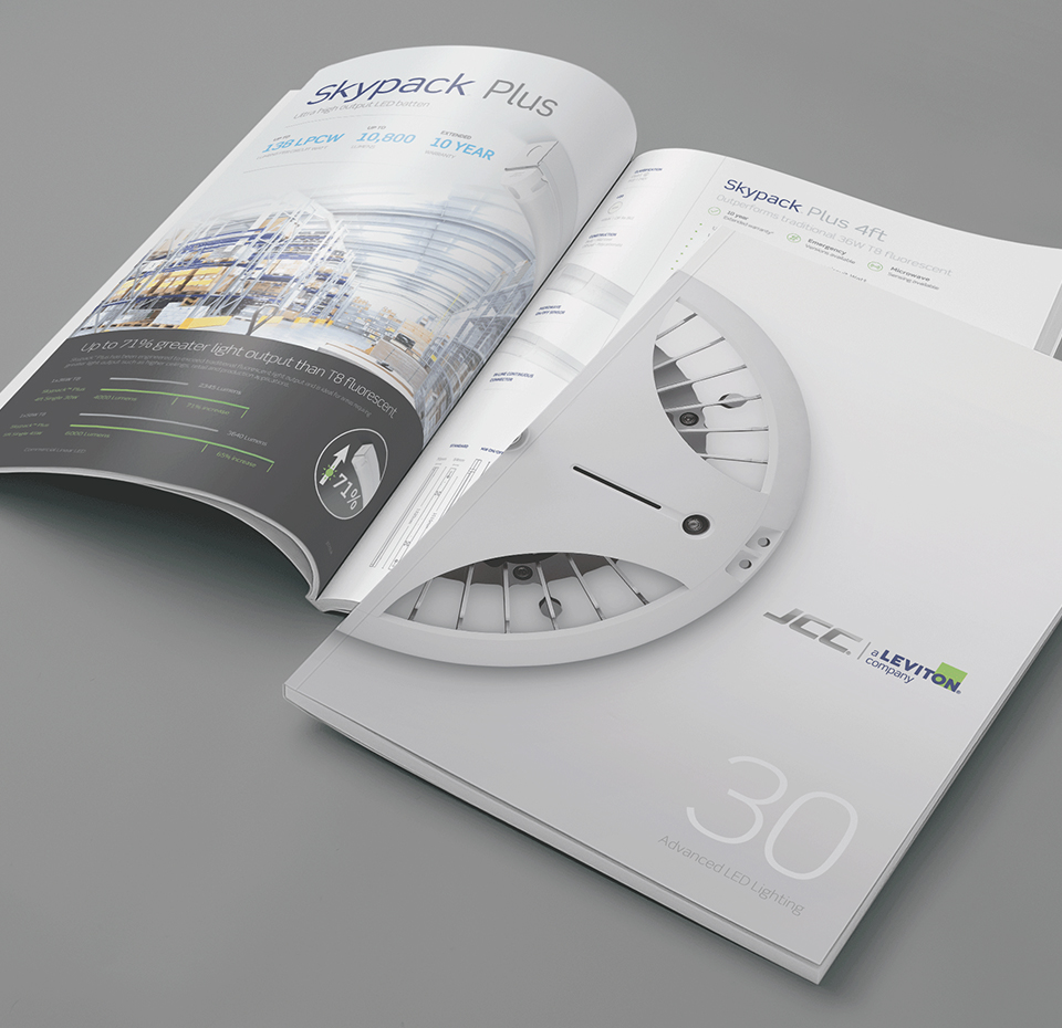 JCC Lighting Catalogue front cover and inside pages