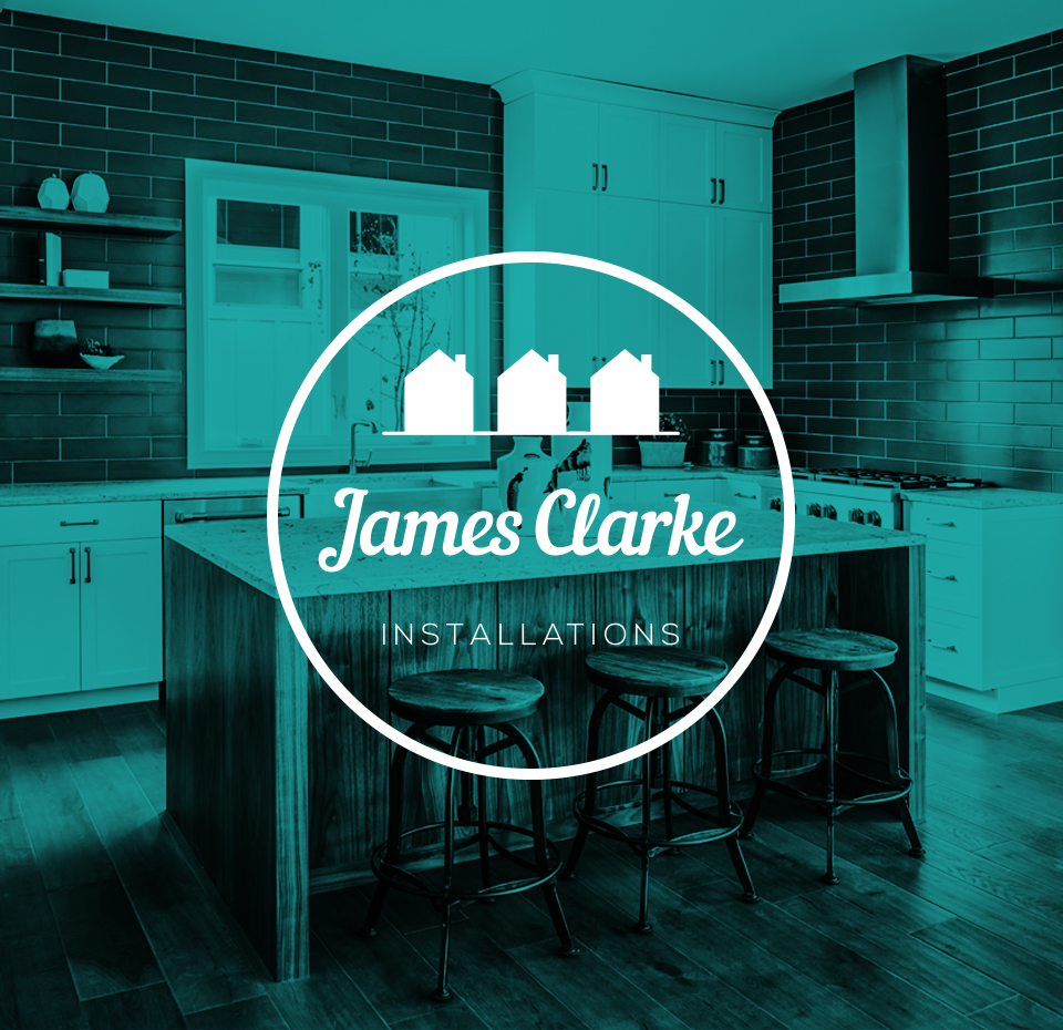 James Clarke Installations logo on an image of a modern kitchen