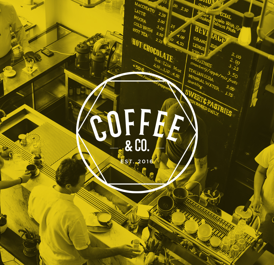 Main Coffee & Co. logo on an image of a coffee shop