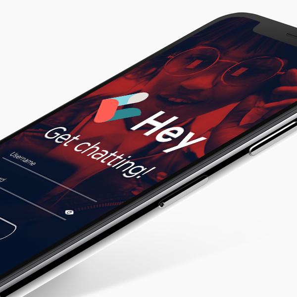 Hey Chat! Mobile App login screen