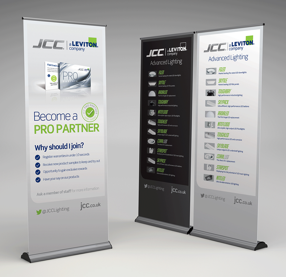 JCC Lighting Pull-up banners advertising products