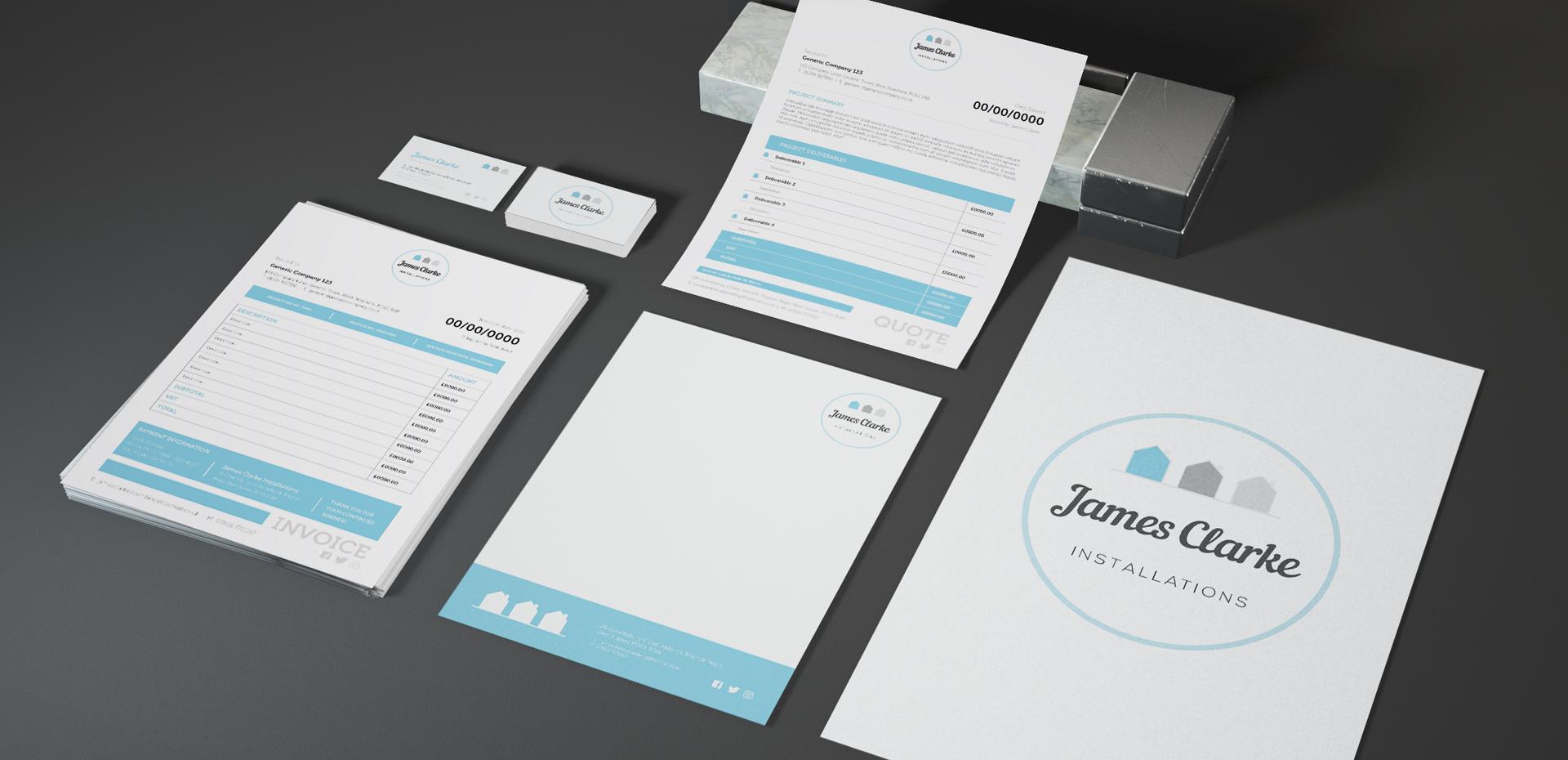 James Clarke Installations brand suite illustrating branded stationery
