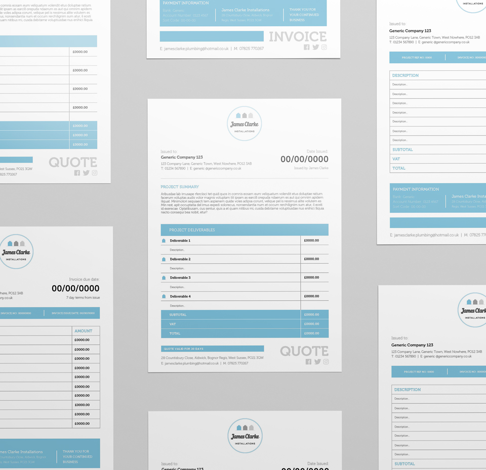 James Clarke Installations branded Invoice and Quote documents