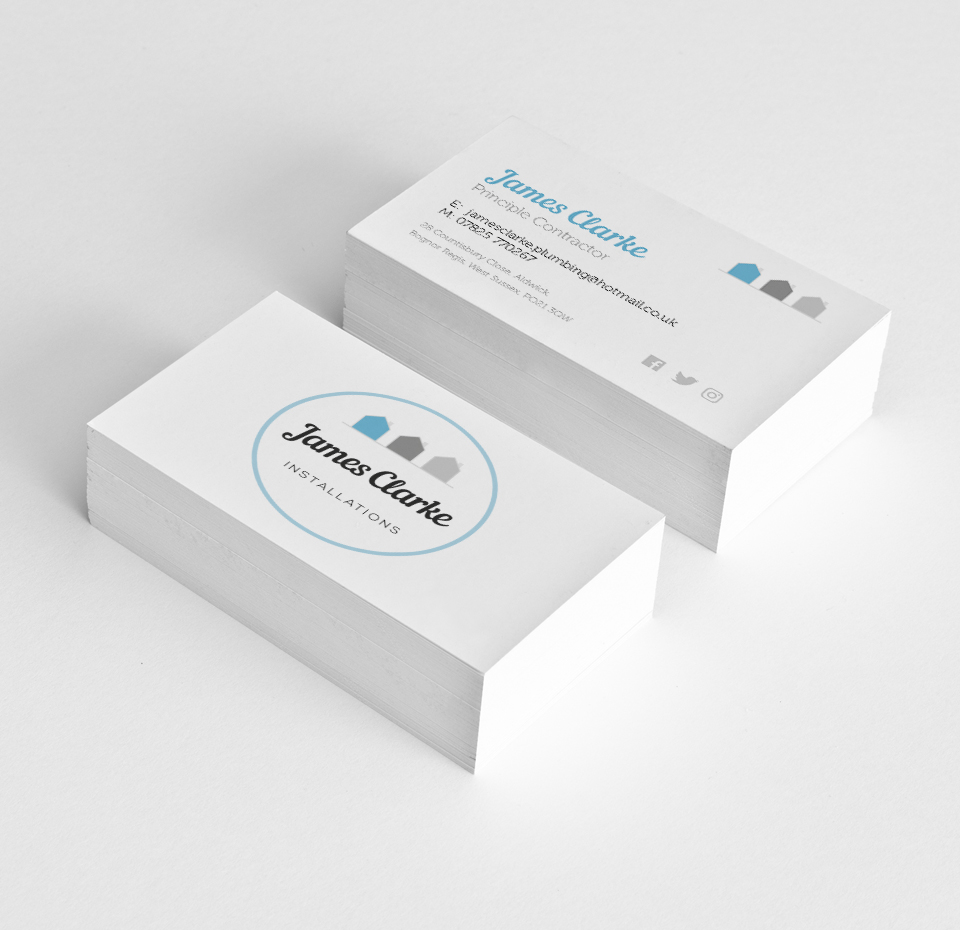 James Clarke Installations business cards front and back
