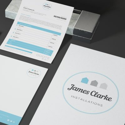 James Clarke Installations brand suite illustrating branded stationery