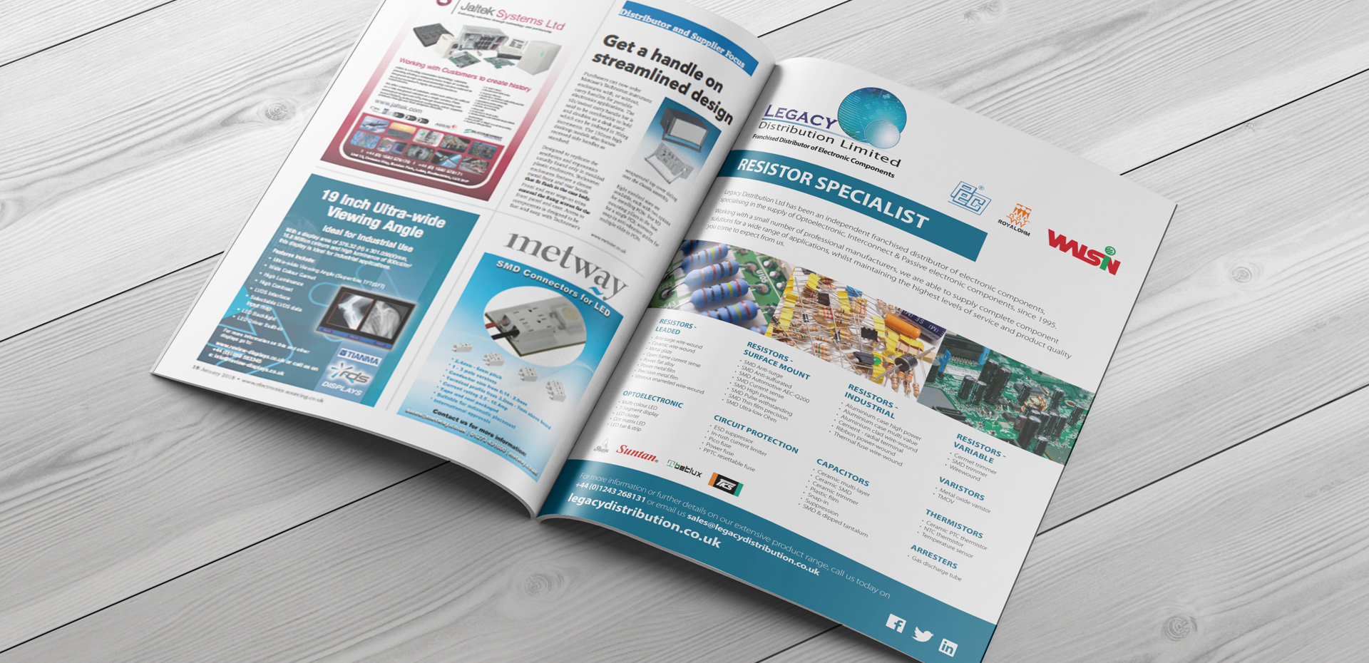 Legacy Distribution industry specific magazine advert showcased in a double page spread