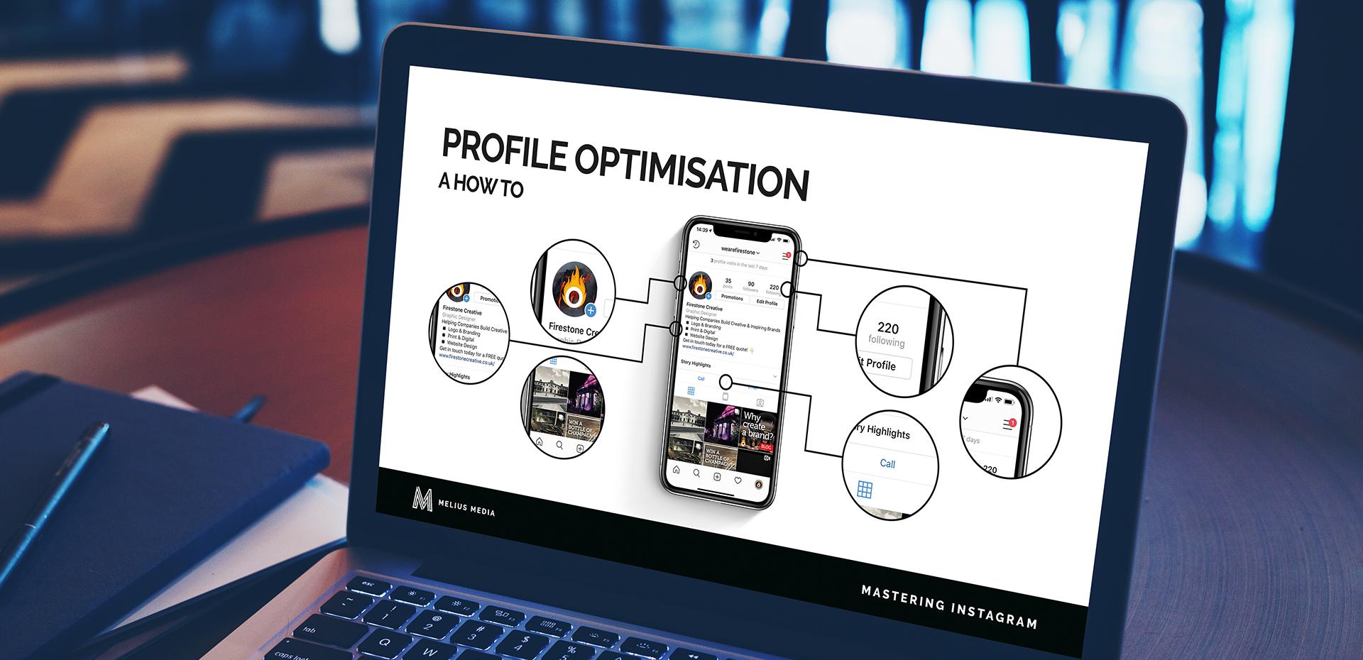 Melius Media Instagram Training slide on a laptop 1