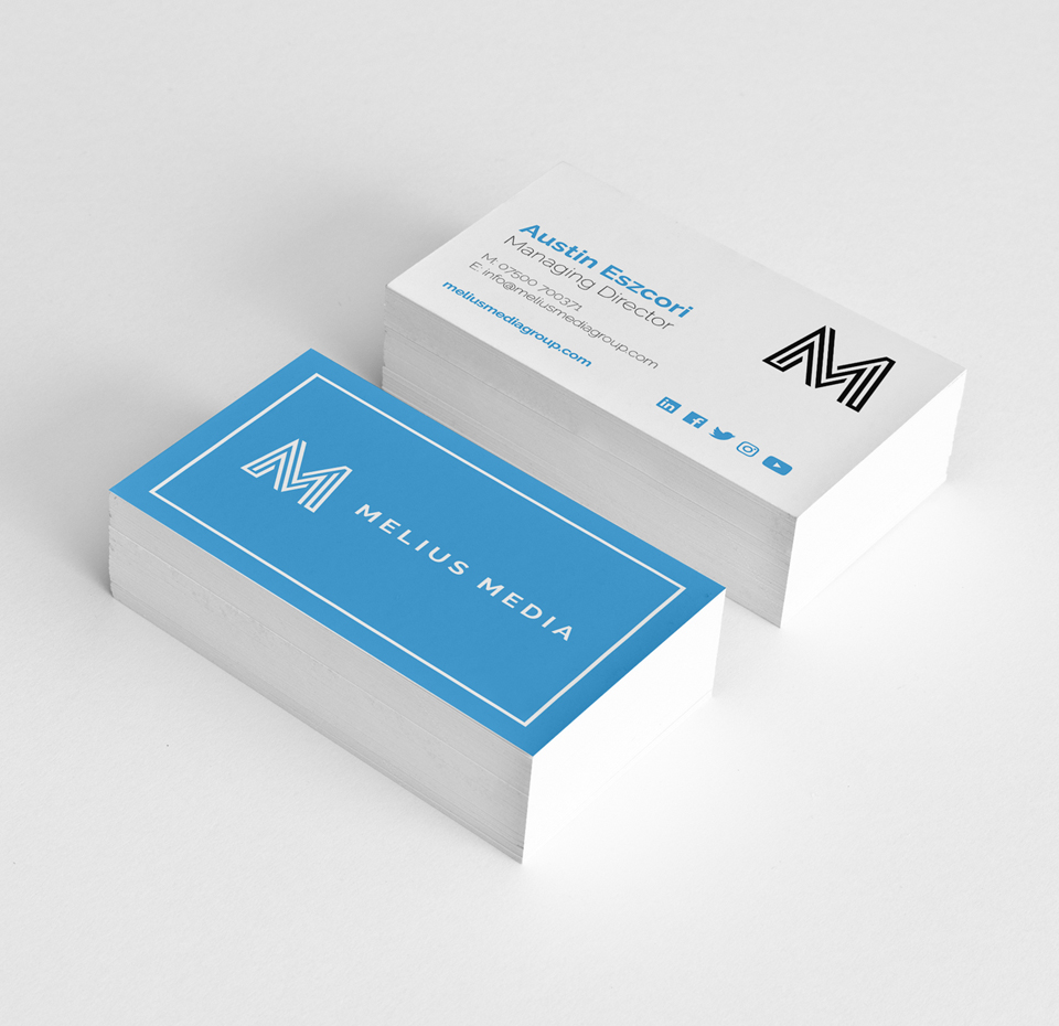Melius Media business cards front and back