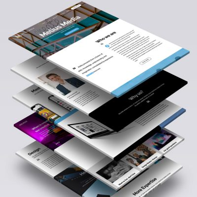 Melius Media website pages stacked