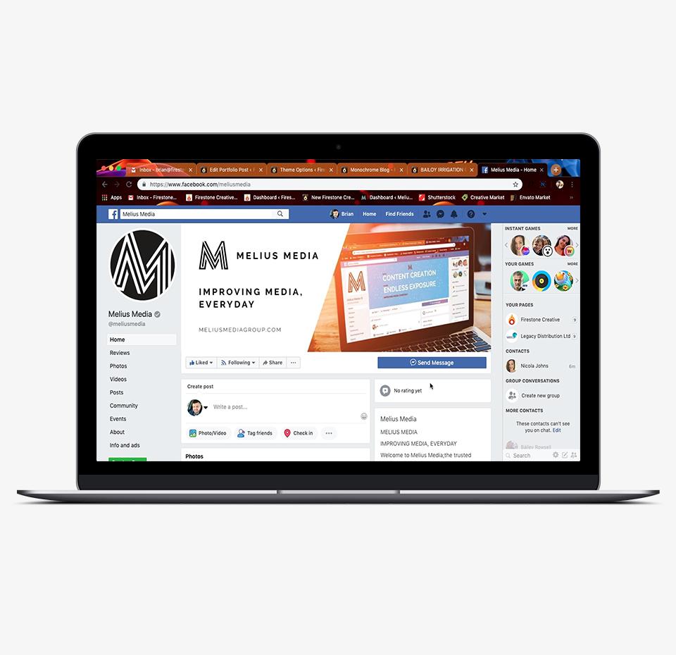Melius Media social media posts on a laptop