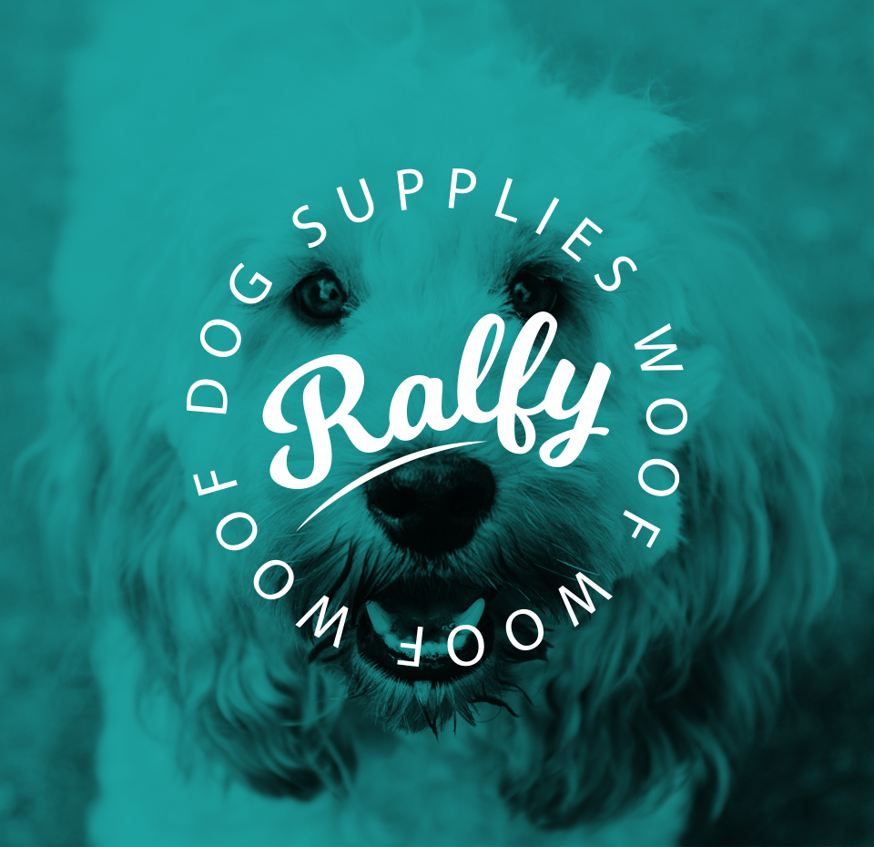Main Ralfy logo on an image of a Cockapoo dog