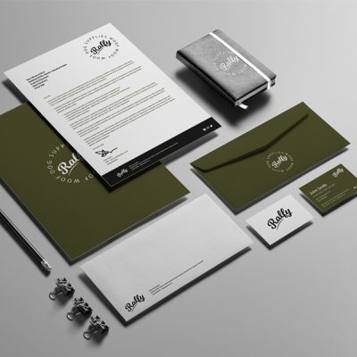Ralfy brand suite illustrating branded stationery